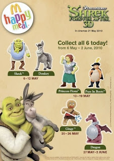 McDonalds Shrek Forever After 3D Happy Meal Toys - Shrek, Princess Fiona, Puss in Boots, Dragon, Gingy, Donkey
