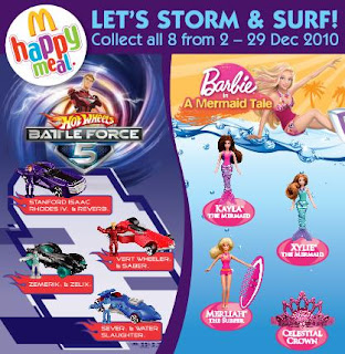 McDonalds Malaysia Hot Wheels Battleforce 5 and Barbie a Mermaid Tale Happy Meal Toys