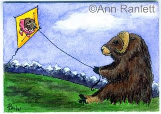Too Tundra Fun - mixed media ACEO by Ann Ranlett