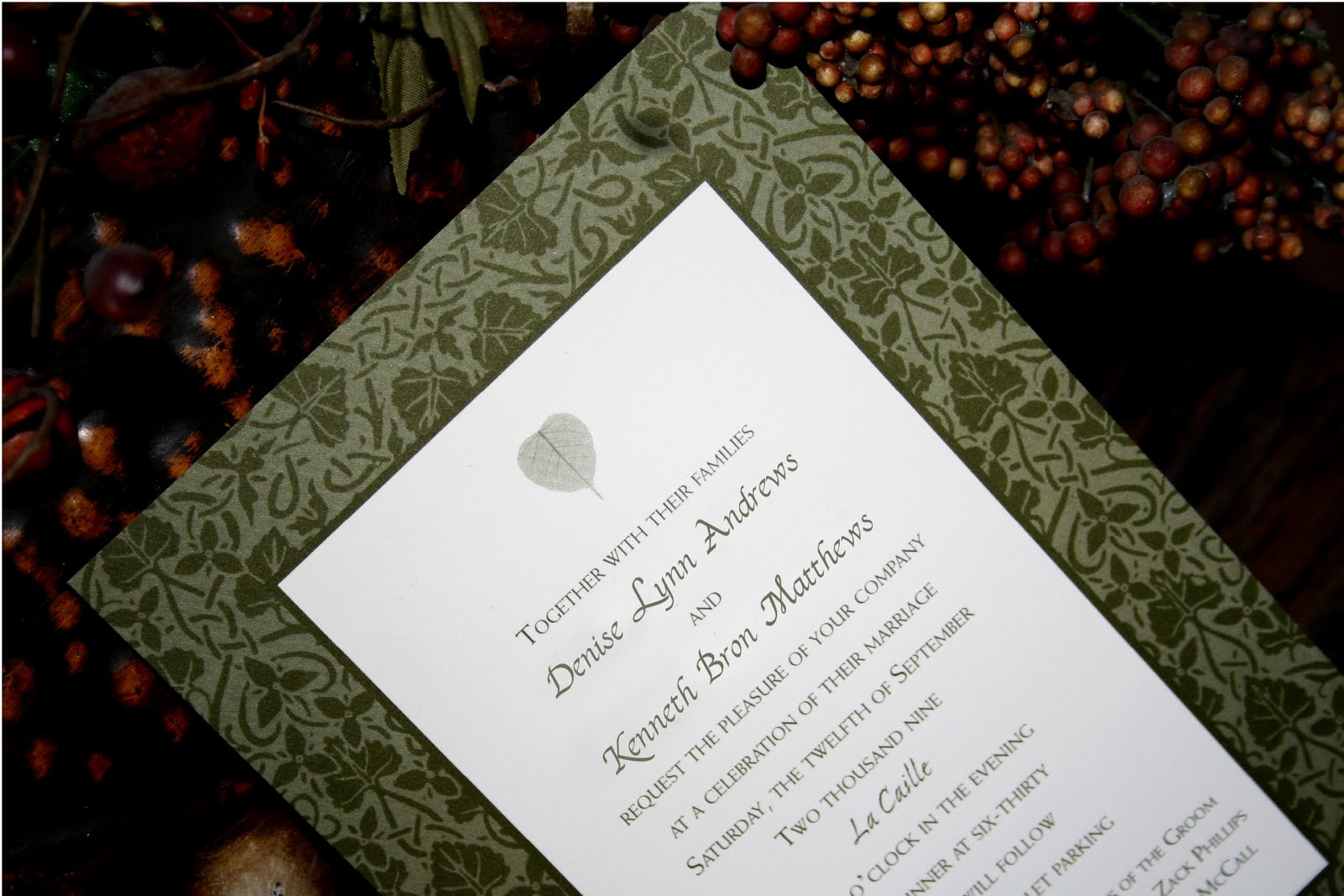 wedding invitation blog  aspen leaf wedding invitation