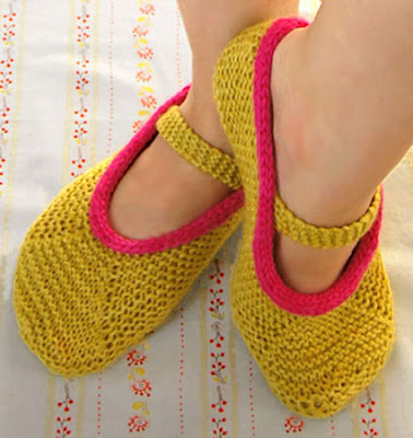 Creative ideas for you: Free Pattern for Knitted Mary Jane Slippers