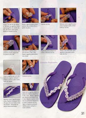 chinelos bordados com pedrarias passo a passo 3