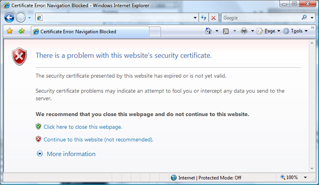 This Error Occurs When Internet Explorer Finds A Problem With Security Certificate That Does Not Fit Any Other Conditions The Can Potentially
