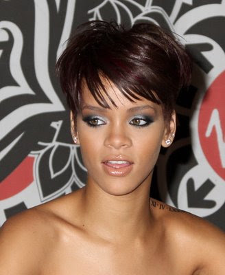 short dark hairstyles. Hairstyles Makeup Fashion 2009:Rihanna Short
