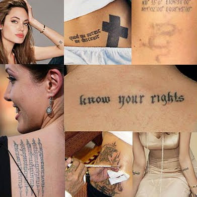 Angelina Jolie has many tattoos And all of them had the special meaning,