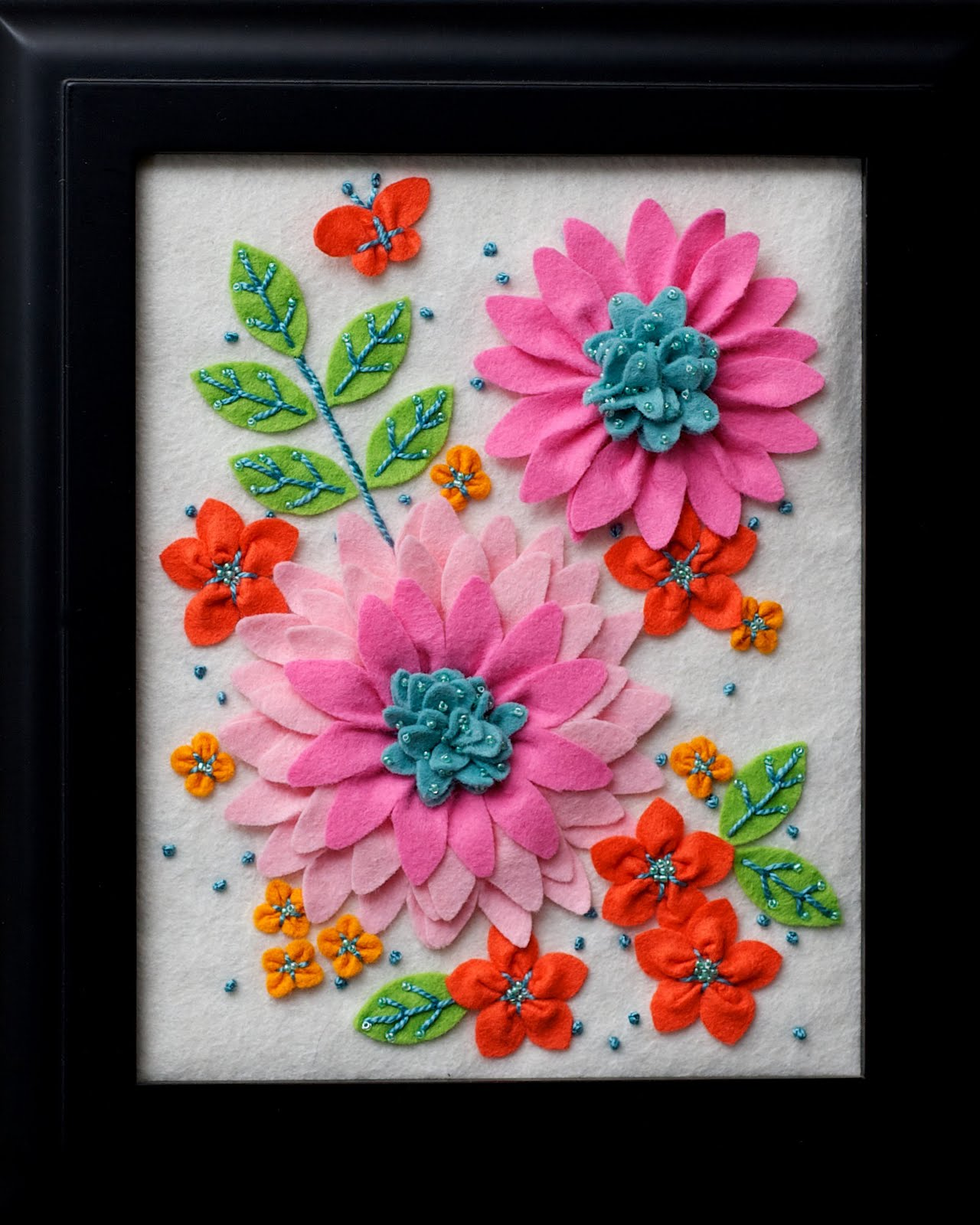 Twin fibers felt flower embroidery for sale