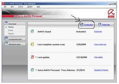 how to add exceptions to avira