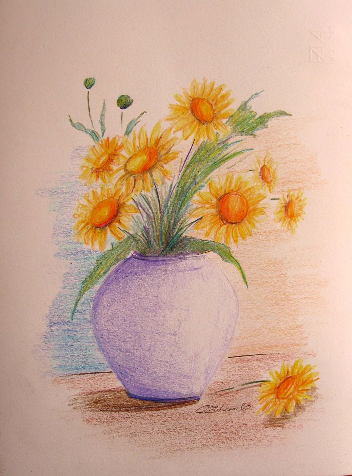 Artecarlacolombo acquerelli e matite colorate studi vari for Disegni di fiori a matita