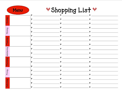 Glittery Giggles Weekly Menu and Shopping List – Shopping List Format