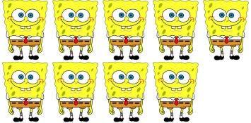 Nine SpongeBobs