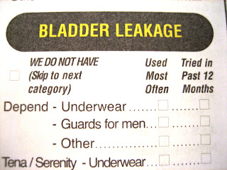bladder leakage: we do not have