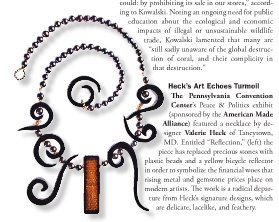 Valerie Heck's Jewelry Piece, Reflections, as published in the December 2008 JQ International Magazine. Photograph by Kelly Heck.