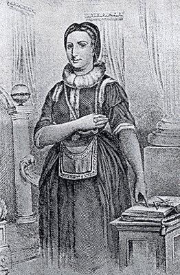 Gravura retratando a primeira mulher na maçonaria