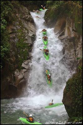 WhereIsBaer.com Chris Baer waterfall green kayak blue water rio costa rica rain force cascade caswela