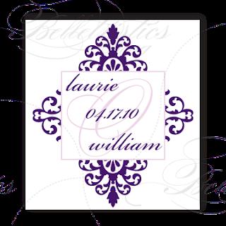 damask wedding monogram design
