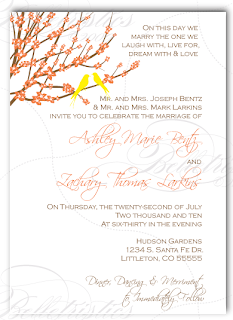 custom bird on a branch wedding invitation design