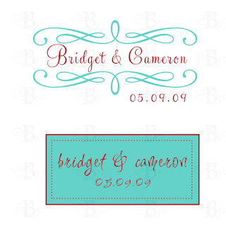 aqua poppy wedding monogram