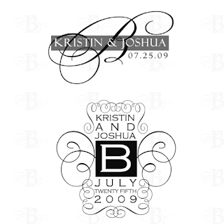 black white wedding monograms