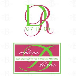 lime pink wedding monogram logo