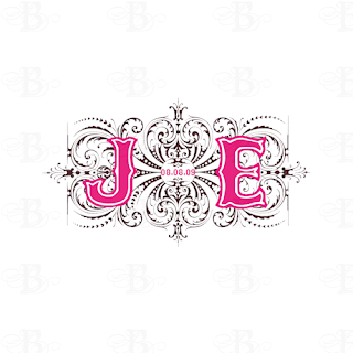 custom wedding monogram logo design pink brown julie edward