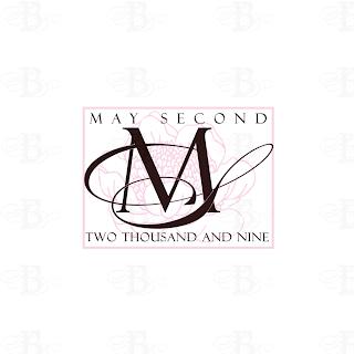 wedding monogram logo pink brown flower vintage