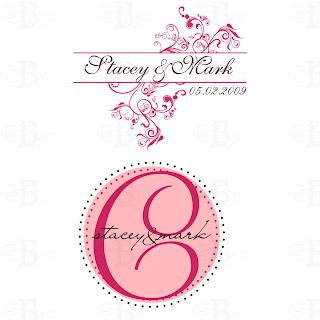 wedding monogram logo pink brown