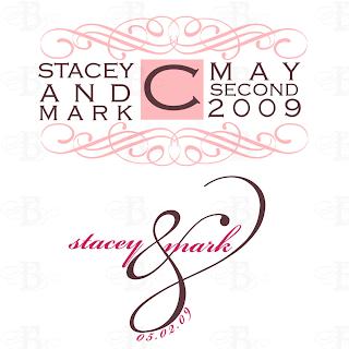 wedding monogram logo design pink brown
