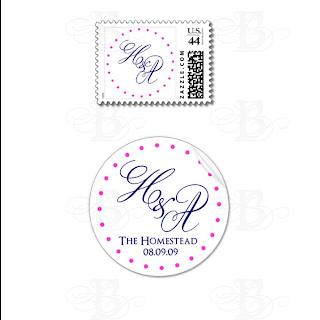 custom wedding postage favor sticker tag