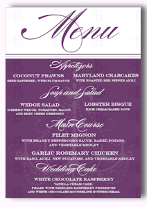 reception menu card design