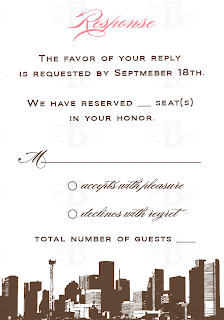 custom rsvp card design pink brown houston skyline
