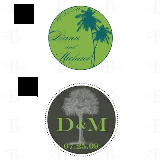 wedding monogram design logo palm tree