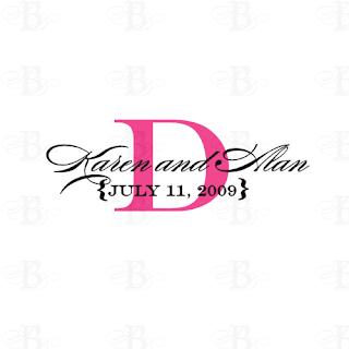 pink wedding logo monogram design