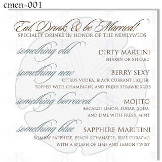 something old something new cocktail menu card wedding design