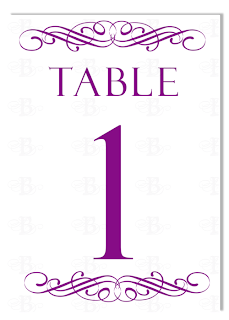 wedding flourish table number design purple