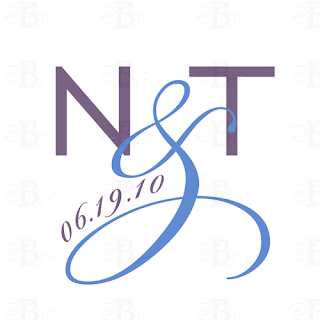 modern contemporary wedding logo monogram design purple blue