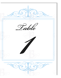 flourish table number blue yellow design logo
