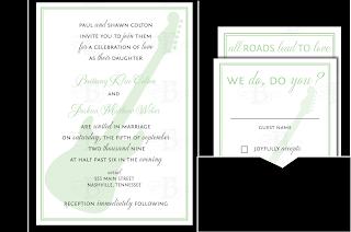 guitar music themed wedding invitation pocketfold design