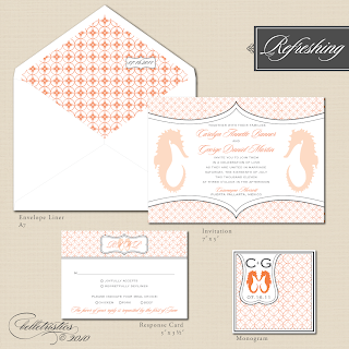 printable diy sea horse beach modern wedding invitation suite
