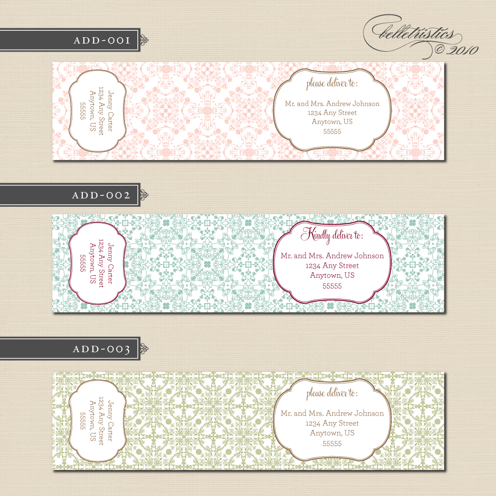 Wrap around address labels can be created in any colors you desire ...