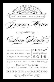 custom typography wedding invitation design
