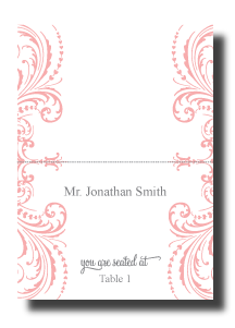 flourish swirl escort place card design wedding reception stationery