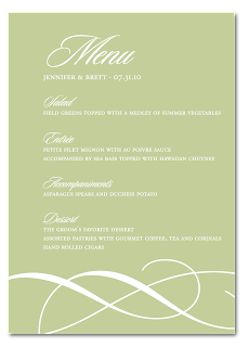 custom flourish wedding dinner menu card design
