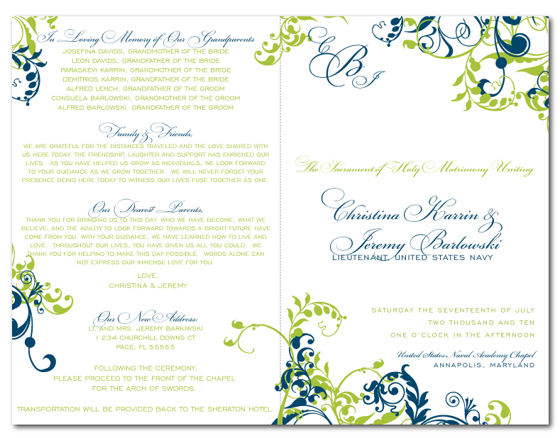 custom diy wedding ceremony program design green blue flourishes