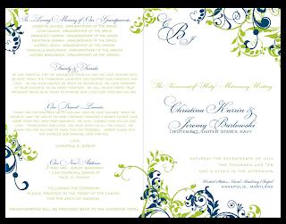 custom diy wedding ceremony program design green blue flourishes