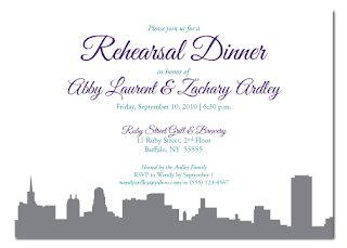 custom buffalo new york skyline rehearsal dinner invitation