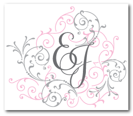 pink gray flourish wedding monogram logo