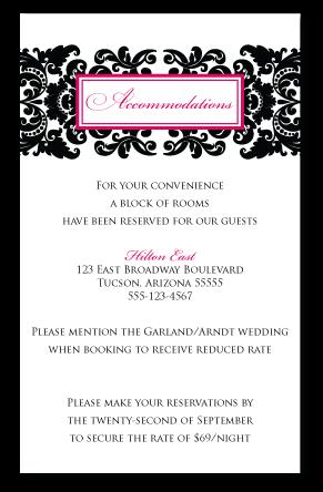 custom damask wedding insert card design