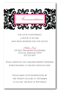 custom damask wedding insert card design
