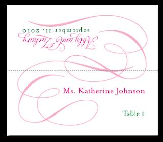 custom flourish pink escort card design