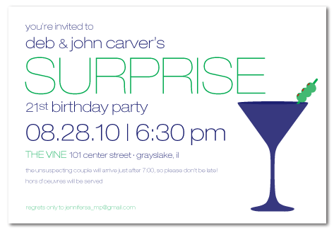 jennifer requested a fun and modern invitation featuring a martini in the design other than that she left the design completely up to me